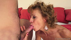 Wild chick with hairy twat licks and screwed by her young admirer