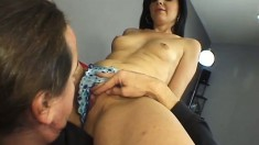 Slender brunette Velvet takes a long dick in her twat and a huge cumload on her face