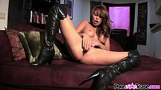 Horny Monique Alexander poses and shows her stuff before fingering