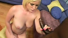 Striking blonde with big tits India Summers has a black cock filling her tight peach