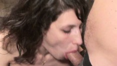 Stacked brunette Layla gives a nice blowjob and gets drenched in piss