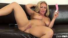 Austin Taylor licks her chops like a whore after she orgasms