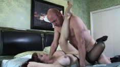 Buxom redhead Vanessa gets her feet licked and her wet pussy drilled