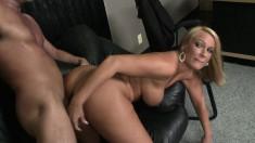 Blonde Melanie Monroe blows and fucks so she can eat his jizz