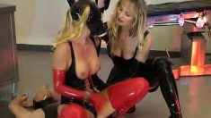 Aila P In A Latex Fetish Foursome Take Turns Sitting On His Stiffy
