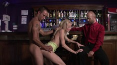 She takes hubby to the bar to cuckold him but gives him a little loving too