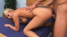 Busty blonde gulps down his prick, gets licked and pounded in bed