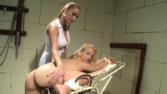 Lesbian beauty with perfect big tits is addicted to pain and pleasure