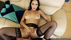 Katsuni bangs that ass against him then lies on her back and fingers