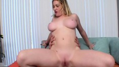 Busty blonde Bebe sucks dick, gets her ass thumped and swallows jizz