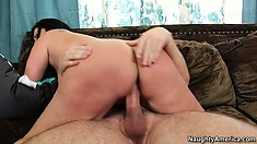 Sammy Brooks gets her juicy ass spanked while riding on a dick