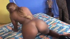Alluring black amateur with a fabulous booty wildly rides a white dick