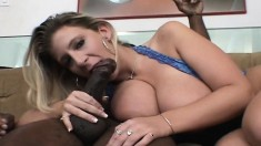Huge breasted blonde cougar sucking and stroking a large black stick