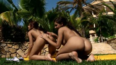 Passionate lesbian friends eat out each other's pussies under the sun