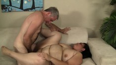 Big brunette gets drilled all over the couch and he sperm injects her