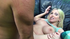 Stacked blonde milf Christie Stevens feeds her hungry slit a hard cock
