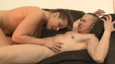 Big breasted brunette indulges in an exciting ballbusting experience