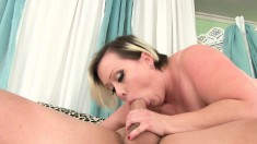 Chunky Blonde In Stockings Reveals Her Passion For Blowing And Fucking