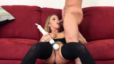 Wild Blonde With Amazing Big Hooters Enjoys A Sex Toy And A Stiff Cock