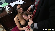 Rich gentleman Johnny thrusts his mighty cock between gal's big knockers