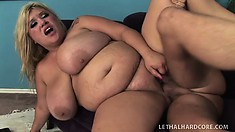 Big tit, fat blonde Kacey gets fucked, tits swinging and covered in cum