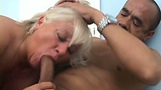 Chubby blonde lady has a guy eating out her hairy cunt before she sucks his big cock