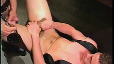 Leather loving stud pounds his bottom while he hangs in a swing