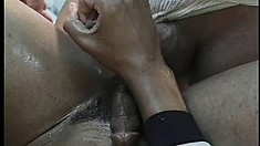 Stud gets a creamy load from his hung coaches in the locker room