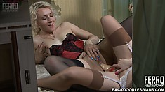 Sexy lesbian babes in lingerie make each other moan in pleasure