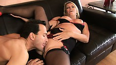 Dick-slurping young hottie loves to take a massive bone in the ass