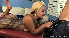 Tattooed Latina Mercedez Santos gets a nasty massage that turns kinky