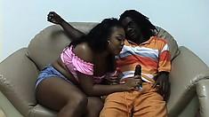 Ebony hottie Vanity Cruz spreads her hot legs and the black stud bangs her cunt deep