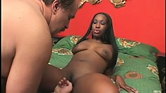 Lustful black babe with big natural boobs has a horny white old man fucking her cunt