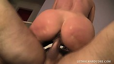 Hot Milf Nikki Charm blows, gives a rim job and gets her cunt hammered