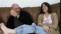 Liza Harper gets her tight pussy pounded deep and hard on the couch