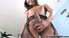 Ebony shemale Jessica Dawson grabs her lady cock and jerks off until she cums