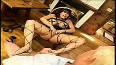 Horny brunette babe with nice long legs gets fucked by a geezer