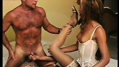 Shemales in lingerie switch asses for this horny dude to fuck