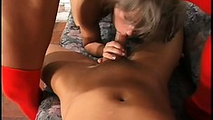 Lustful girls taste each other's wet pussies and share a throbbing cock