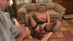 Fine-featured babe Darryl Hanah gets her pussy teased by well-known porn actor