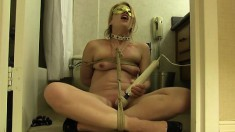 Mysterious masked blonde uses a big vibrator on her wet cunt