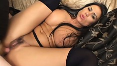 Busty MILF whore is hungry for black cock and takes a rough pounding
