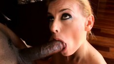 Blonde MILF squeals with pleasure as this black dick fucks her