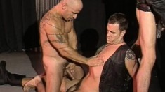 Leather bound studs indulge in some steamy assfucking action