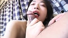 Pretty Japanese girl Hitomi needs a hard dick fucking her hairy peach