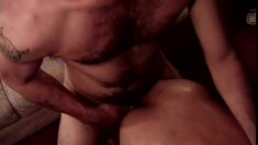 Hot gay lovers exchanging blowjobs and fucking hard on the couch