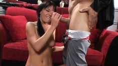 Adorable young brunette has an older guy drilling her tight holes on the couch