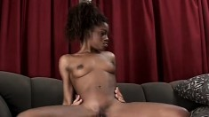 Ebony slut Monique takes every inch of a white stick up her butt hole