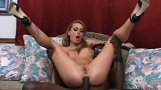 Hot blond squeals when she takes his big black cock in her ass