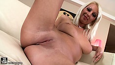 Pamela is a dazzling blonde with perfect tits, a divine ass and a tight snatch